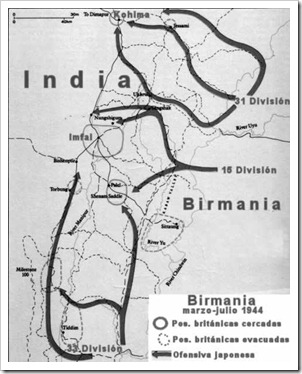 1 Rupia Jorge VI. 1944 Calcuta. La batalla de Imfal Birmania-map