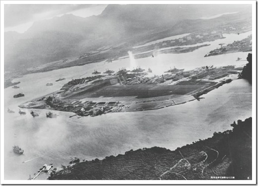 Battleship Row as taken from a Japanese plane early in the attack.